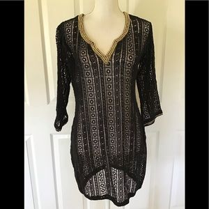 Elizabeth Hurley crochet swimsuit coverup black S